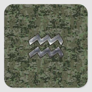 Aquarius Zodiac Sign on Woodland Digital Camo Square Sticker
