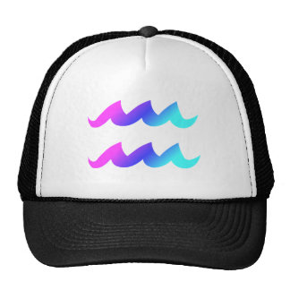 Aquarius Zodiac Sign Pink Blue Aqua Gradient Cap
