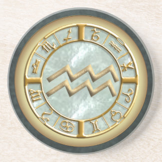 Aquarius Zodiac Sign Sandstone Coaster