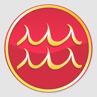 Aquarius - Zodiac Signs Round Sticker