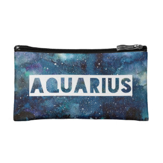 Aquarius Zodiac Star Sign Blue Galaxy Print Makeup Bag