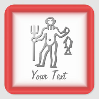 Aquarius Zodiac Star Sign In Light Silver Square Sticker