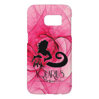 Aquarius Zodiac Star Sign in Pink and Black