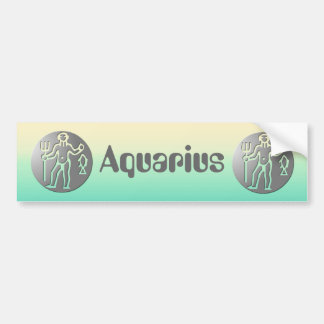 Aquarius Zodiac Star Sign Premium Silver Bumper Sticker