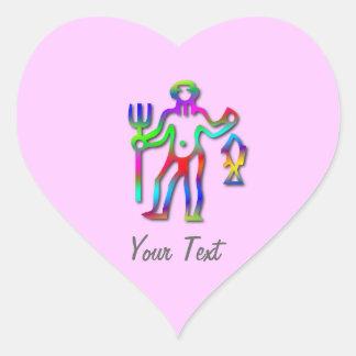 Aquarius Zodiac Star Sign Rainbow on Pink Heart Heart Sticker
