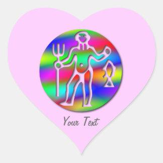Aquarius Zodiac Star Sign Rainbow Pink Heart Sticker
