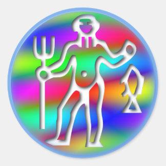 Aquarius Zodiac Star Sign Rainbow Round Sticker