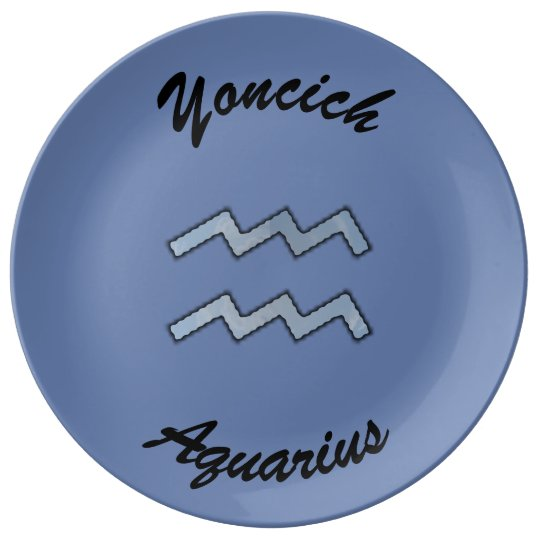 Aquarius Zodiac Symbol Element by Kenneth Yoncich Plate