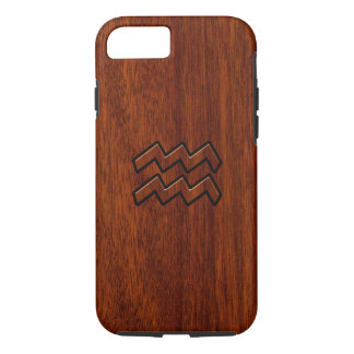 Aquarius Zodiac Symbol Mahogany Style iPhone 7 Case