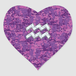 Aquarius Zodiac Symbol on fuchsia digital camo Heart Sticker