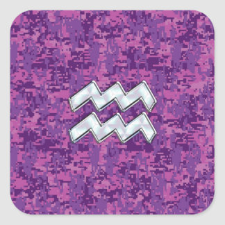 Aquarius Zodiac Symbol on fuchsia digital camo Square Sticker