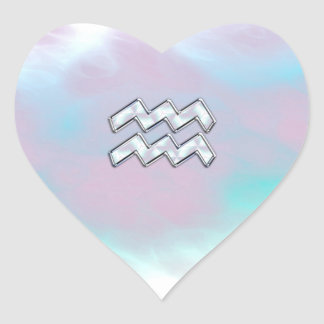 Aquarius Zodiac Symbol on Mother of Pearl Nacre Heart Sticker