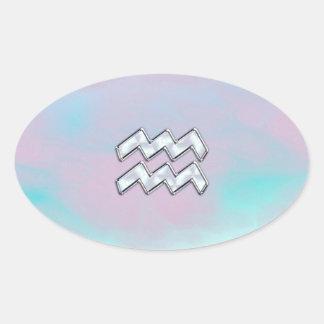 Aquarius Zodiac Symbol on Mother of Pearl Nacre Oval Sticker