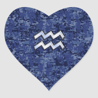 Aquarius Zodiac Symbol on navy blue digital camo Heart Sticker