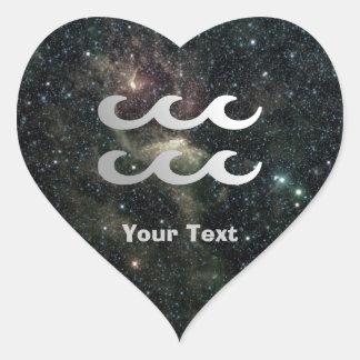 Aquarius Zodiac Universe Name Gift Tag Heart Heart Sticker