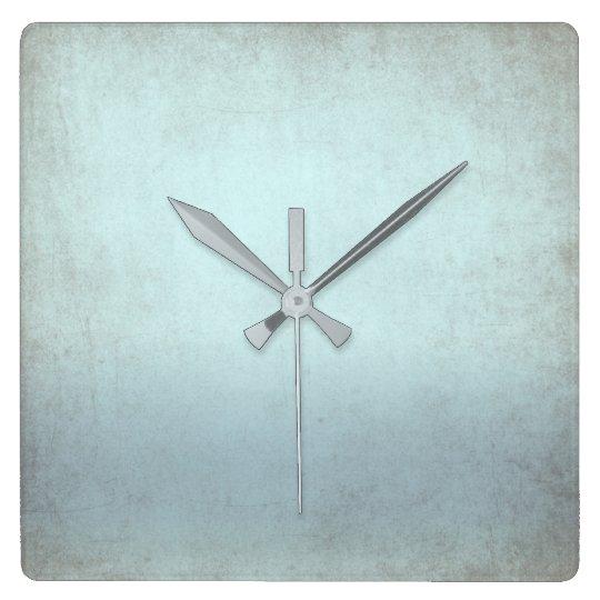 Aquatic Blue Gray Grungy Contemporary Square Wall Clock