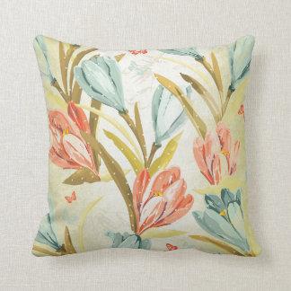 Aquatic Crocus Lila Mint Blue Sky Orchidea Flowers Throw Pillow