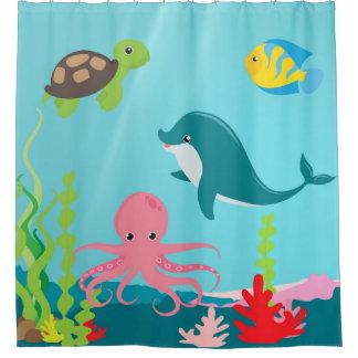 Aquatic Ocean Life Shower Curtain