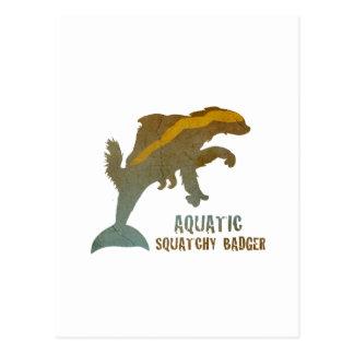 Aquatic Squatchy Badger Postcard
