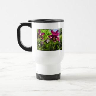 Aquilegia. Plum purple flowers. Travel Mug