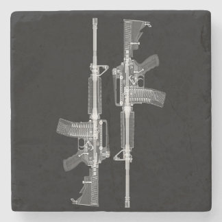 AR-15 rifle X-ray from real gun Stone Coaster