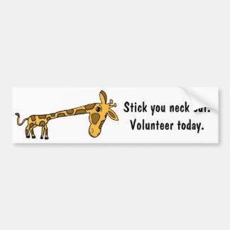 AR-Giraffe Cartoon Volunteer Bumper Sticker