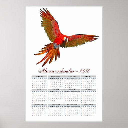 Ara macao parrot calendar 2015 poster