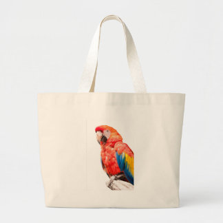 ara macaw parrot on its perch large tote bag