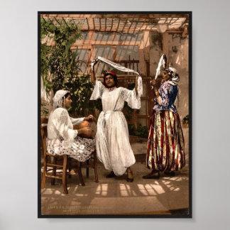 Arab dancing girls, Algiers, Algeria vintage Photo Poster
