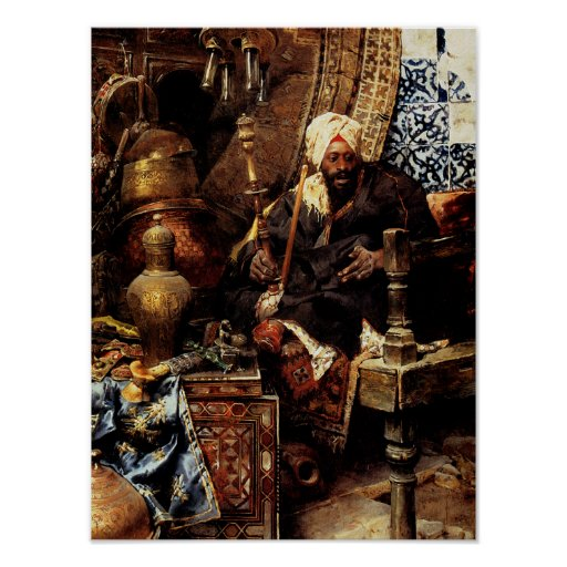 Arab Dealer Among His Antiques Poster