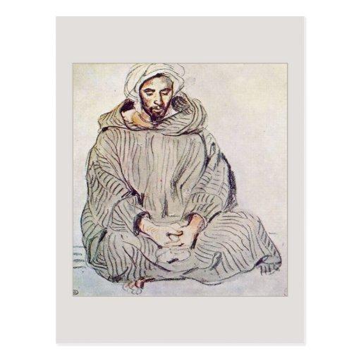 Arab Man Sitting in Tangier by Eugene Delacroix Postcards