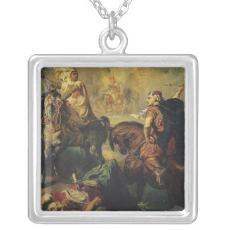 Arab Tribal Chiefs in Single Combat Silver Plated Necklace