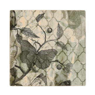 Arabesque Butterflies I Wood Coaster
