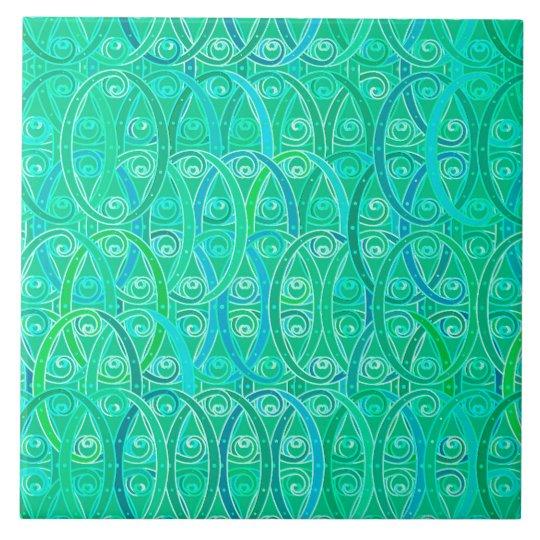 Arabesque Damask - Aqua and Turquoise Tile