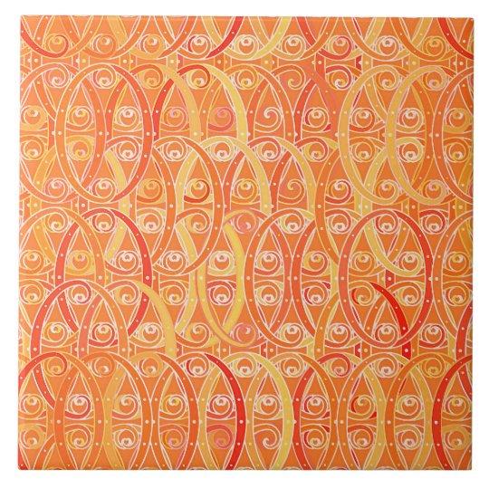 Arabesque Damask, Soft Orange and Coral Tile