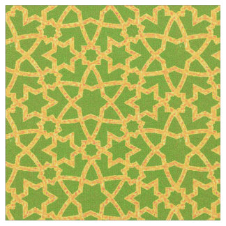 Arabesque grande green and gold fabric