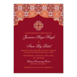 Arabesque Orange Red Indian Wedding Invitation