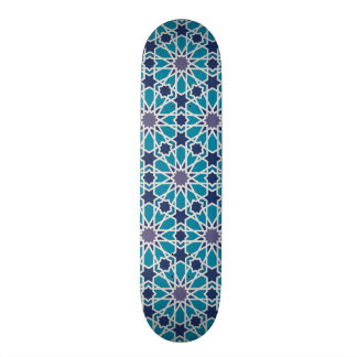 Arabesque Pattern In Blue And Grey 19.7 Cm Skateboard Deck