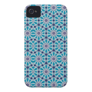 Arabesque Pattern In Blue And Grey iPhone 4 Cases