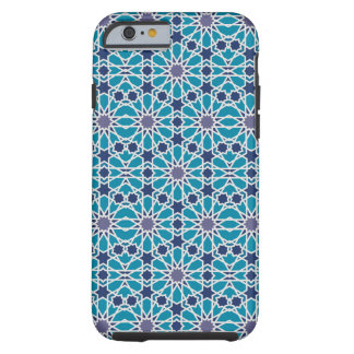 Arabesque Pattern In Blue And Grey Tough iPhone 6 Case