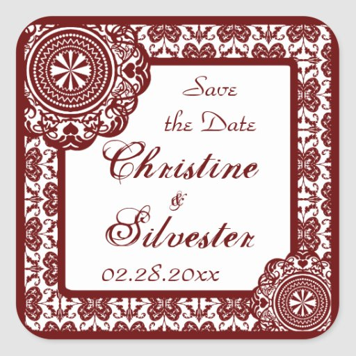 Arabesque Red Lace, save the date stickers