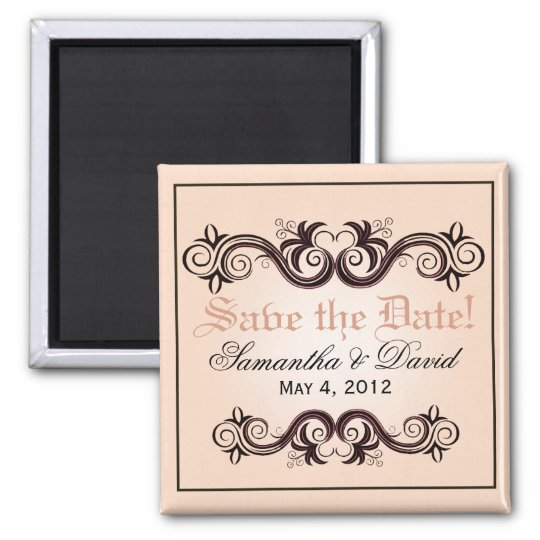 Arabesque Save the Date (blush pink) Square Magnet