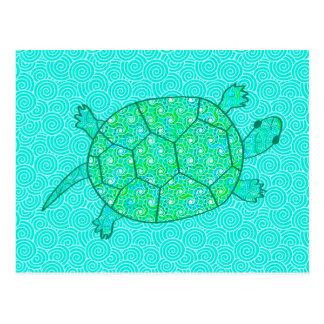 Arabesque swirl turtle - shades of seafoam green postcard