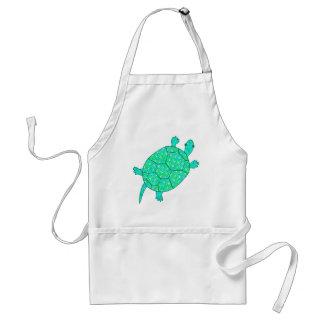 Arabesque swirl turtle - shades of seafoam green standard apron