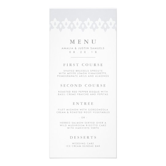 Arabesque Wedding Menu Card | Grey