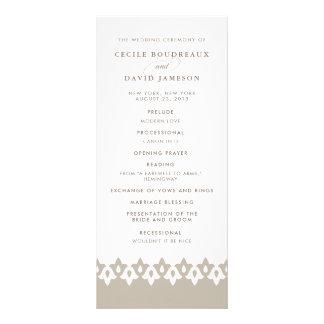 Arabesque Wedding Program | Champagne Beige Custom Rack Card