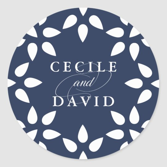 Arabesque Wedding Sticker | Navy