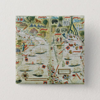 Arabia and India, from the 'Miller Atlas', c.1519 15 Cm Square Badge