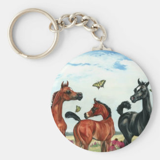 arabian foals in summer basic round button key ring