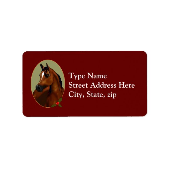 Arabian Horse Christmas Cameo Avery Label Address Label